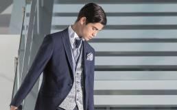 Fato de noivo azul com padrão jacquard Tomás Diniz We are Models